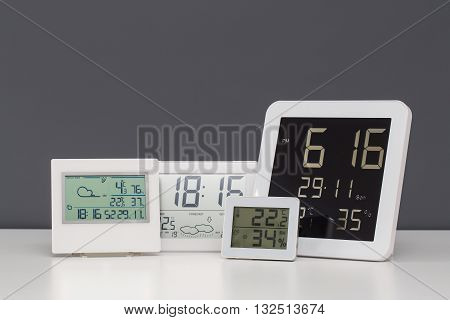 Weather station device with weather conditions. Gray background.
