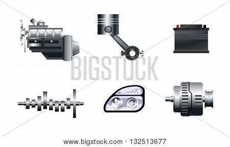 Vector illustration of a six auto spare parts