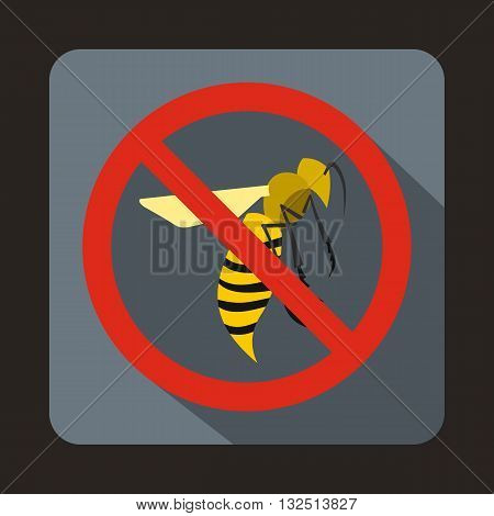 No wasp sign icon in flat style on a gray background