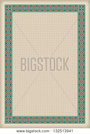 Decorative frame and background, A4 page format, Arabic style. Pattern brush for rectangular frame and swatch for fill are included.