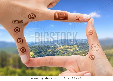 Hand symbol that means digital camera. Photography concepts.
