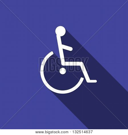 Disabled Handicap Icon with long shadow. Vector illustration.