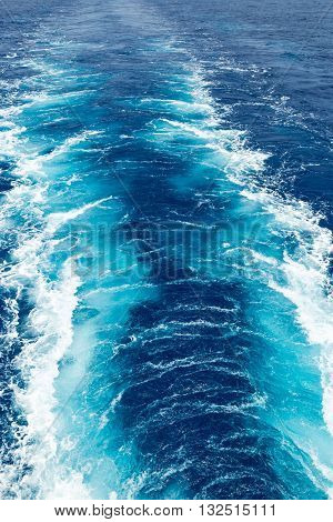Texture of the wake on the sea