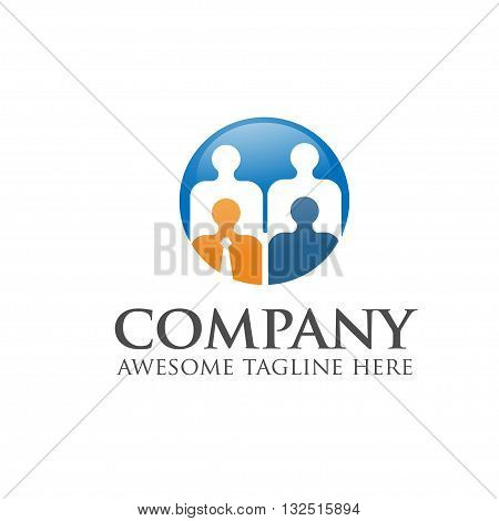 people business and leadership logo vector icircle concept