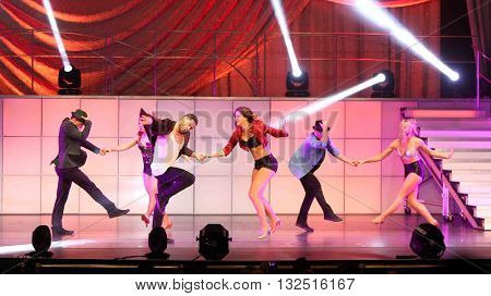 NEW YORK-JAN 12: Valentin Chmerkovskiy (3rd L) performs at Dancing with the Stars: Live! Tour at the Beacon Theatre on January 15, 2015 in New York City.