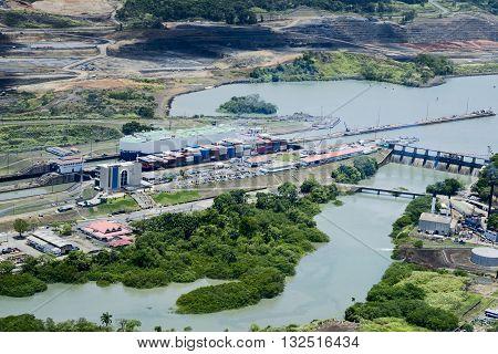 Aerial view of Miraflores Locks. Cargo ships passing through Miraflores Locks at Panama Canal.