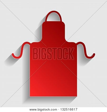 Apron simple sign. Red paper style icon with shadow on gray.