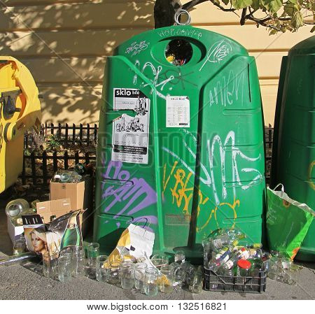 Brno Czech - November 2 2015: big green trash container for glass in Brno Czech