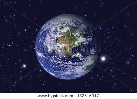 High Resolution Planet Earth view. The World Globe from Space in a star field showing the terrain. Elements of this image are furnished by NASA.