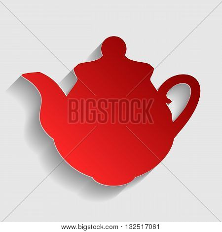 Tea maker Kitchen sign. Red paper style icon with shadow on gray.