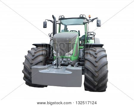 New green powerful tractor isolated over white background