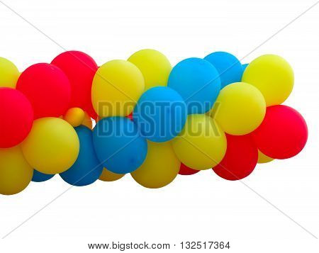 Bunch of red blue and yellow balloons isolated over white background