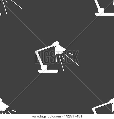 Reading-lamp Icon Sign. Seamless Pattern On A Gray Background. Vector