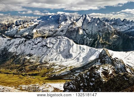 view from Sass Pordoi to massif Marmolada Dolomites Italy