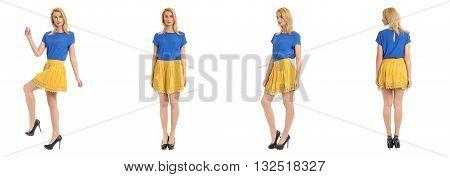 Beautiful Blonde Girl In Short Skirt Isolated