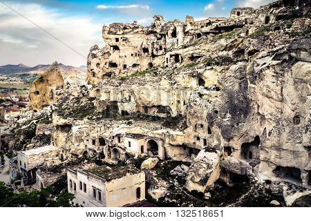 An old settlement inside the rocks of Cappadocia
