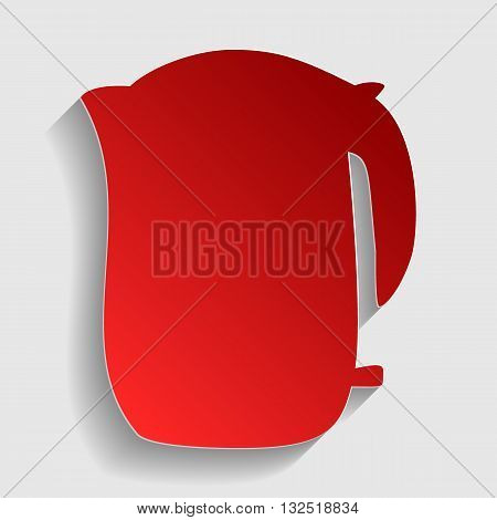 Electric kettle sign. Red paper style icon with shadow on gray.