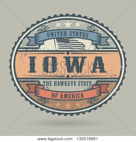 Vintage stamp or label with the text United States of America, Iowa, vector illustration
