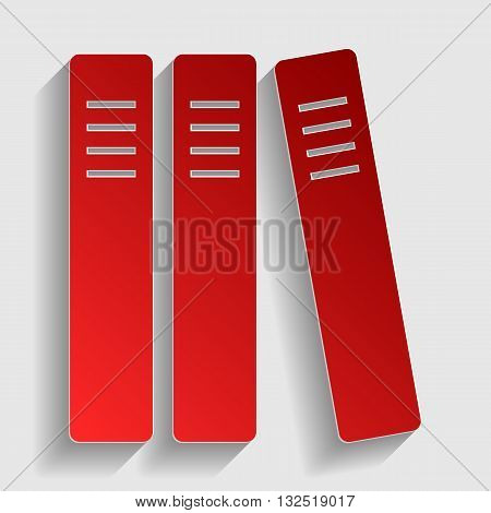 Row of binders, office folders icon. Red paper style icon with shadow on gray.