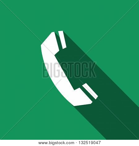 Telephone handset icon with long shadow. Vector illustration