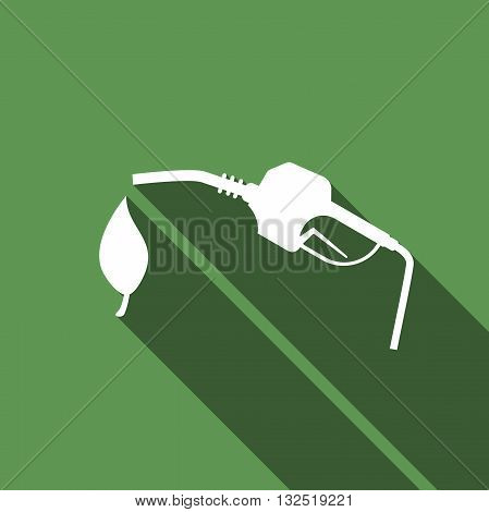 Bio fuel vector symbol icon with long shadow. Vector illustration