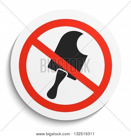 No food and Ice Cream Prohibition Sign on White Round Plate. No Ice Cream Vector Illustration on White Background