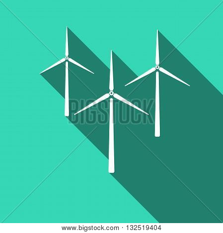 Wind generator icon with long shadow. Vector illustration