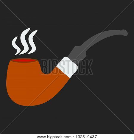 Tobacco smoking pipe. Vector. Classical hipster smoke pipe in flat style. Vector illustration on black background