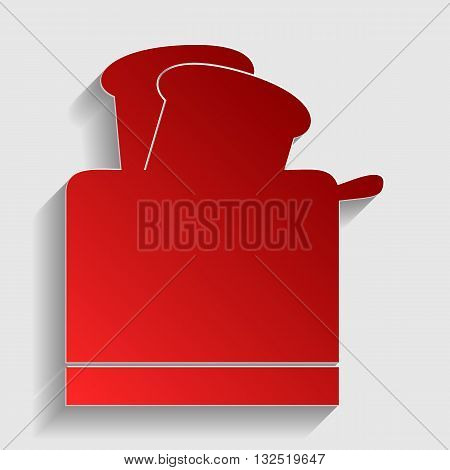 Toaster simple sign. Red paper style icon with shadow on gray.