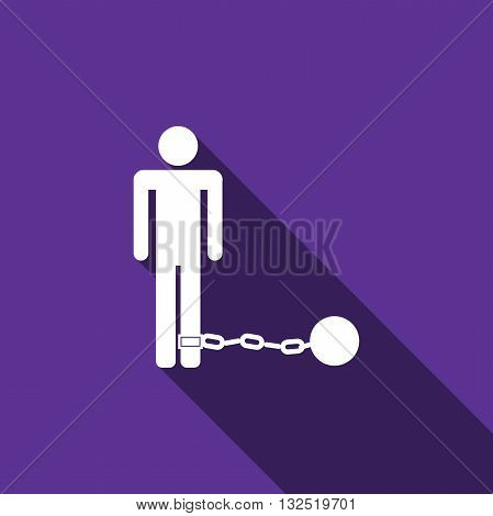 Prisoner with ball on chain icon with long shadow. Vector illustration