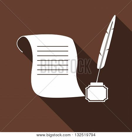 Quill Pen with inkwell and paper scroll icon with long shadow. Vector illustration