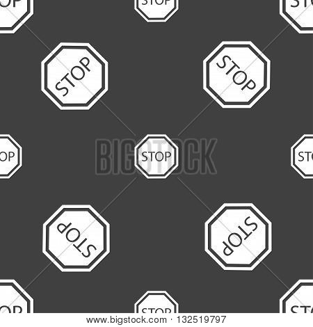 Stop Icon Sign. Seamless Pattern On A Gray Background. Vector
