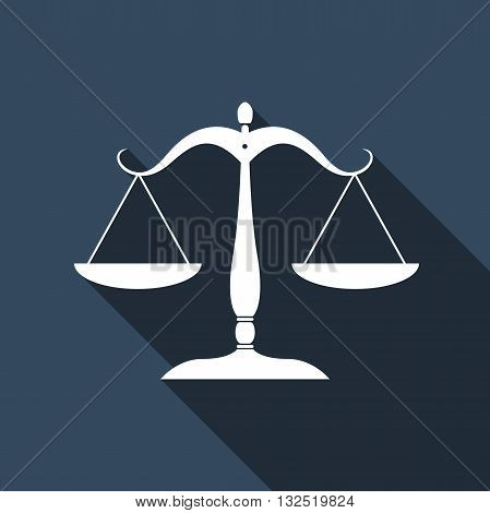Justice scales silhouette icon with long shadow. Vector illustration