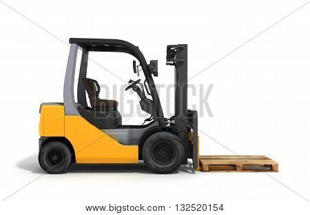 Forklift Loader Isolated On White 3D Render