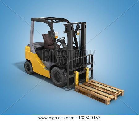 Forklift Loader Whith Pallet Isolated On Gradient 3D Render