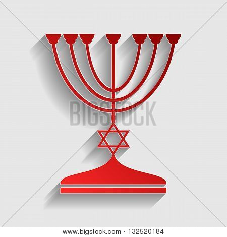 Jewish Menorah candlestick in black silhouette. Red paper style icon with shadow on gray.