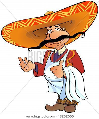 Mexican chief with thumb up.