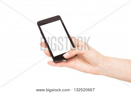 Hands holding smart phones isolated on white background.