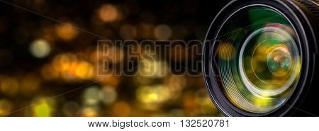 Camera lens with lense reflections - Stock Image.