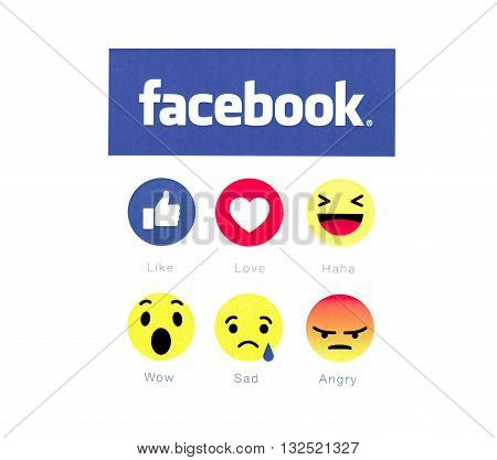 Belchatow Poland - May 23 2016: Facebook logo and button 6 emoji icon printed on white paper.
