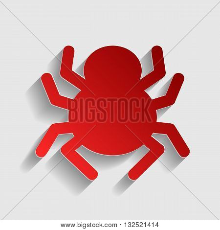 Spider sign illustration. Red paper style icon with shadow on gray.