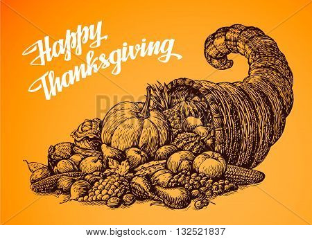 Thanksgiving Day. Hand drawn vector illustration Cornucopia or Horn of Plenty. Vegetables and Fruits