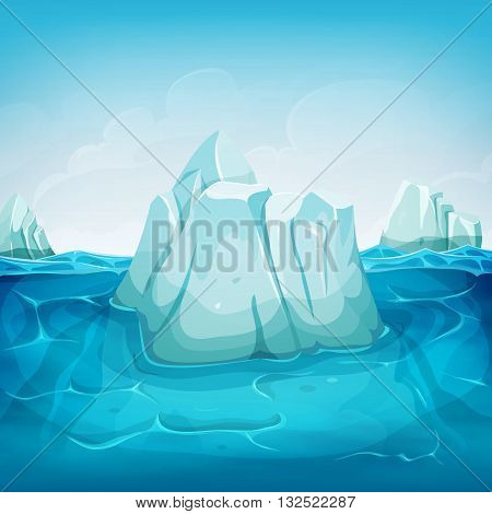 Illustration of a cartoon iceberg block floating on deep polar ocean with water waves behind and blue sky background