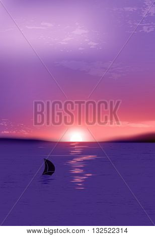 Sunrise In The Sea With A Sailboat. Summer Holidays Vector Background.natural Background With Sunset
