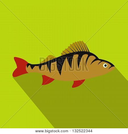 Perch fish icon in flat style with long shadow. Sea and ocean symbol