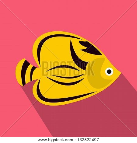 Fish yellow tang icon in flat style with long shadow. Sea and ocean symbol