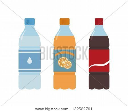 Plastic bottle of water. Orange, water and cola. Isolated on white background
