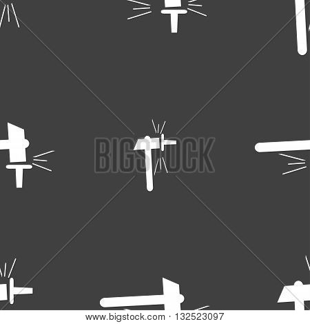 The Smithy. Forge And Stithy, Blacksmith Icon Sign. Seamless Pattern On A Gray Background. Vector