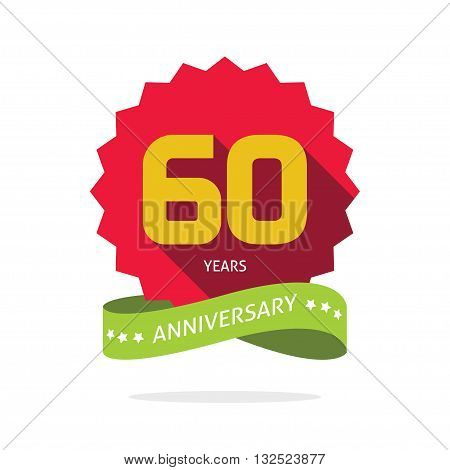 Years 60 anniversary vector label logo, shadow on star, number 60, 60th years anniversary icon. Sixtieth birthday party symbol. Sixty promotion sale sticker ribbon, poster, emblem