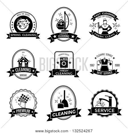 Cleaning service graphic emblems with broom tap machine house staff clothes rag dishes stars isolated vector illustration